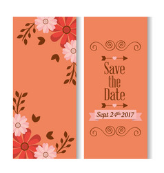 save the date romantic banners flower floral love vector image