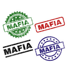 Scratched textured mafia seal stamps vector