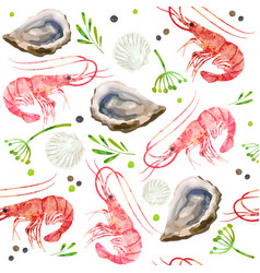 Seamless pattern seafood prawns shrimps shells vector