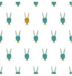 seamless pattern with bunny faces vector image