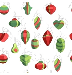 Seamless pattern with Christmas decor on white vector image