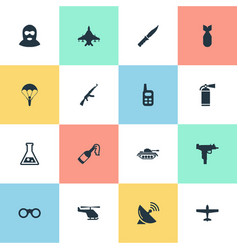 Set of 16 simple army icons can be found vector