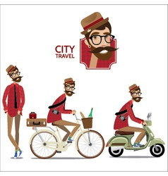 Set of city travelers vector image