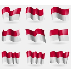 Set of Indonesia flags in the air vector