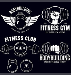 set of monochrome fitness emblems labels badges vector image