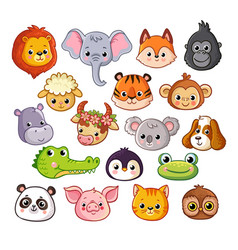 set with animals in cartoon style on a vector image