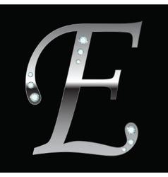 silver metallic letter E vector image