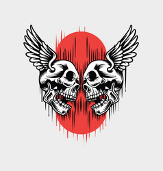 skull has wings vector image