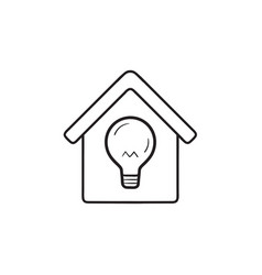 Smart home with light bulb hand drawn outline vector