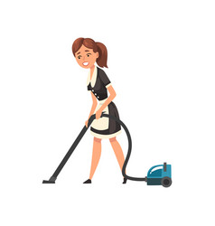 Smiling maid with vacuum cleaner housemaid vector