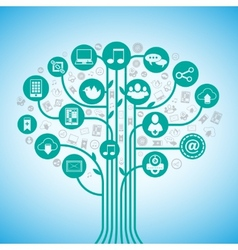Social media tree vector image
