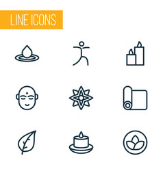 Spiritual icons line style set with yoga mat vector
