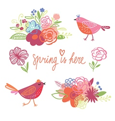 Spring collection handwritten elements vector