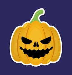 Sticker pumpkin for the holiday happy halloween vector