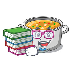 Student with book cartoon homemade stew soup in vector
