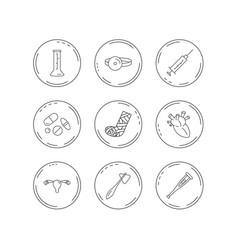 Syringe beaker and pills icons medical signs vector