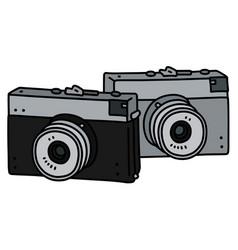 Two retro photographic cameras vector