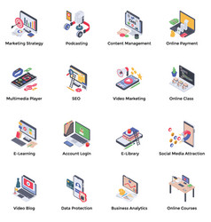 Webinar podcasting isometric icons pack vector