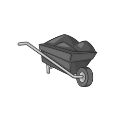 Wheelbarrow icon black monochrome style vector image
