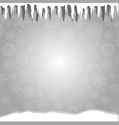 Winter silver snowy background with icicles vector