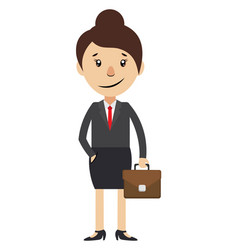 woman with suitcase on white background vector image