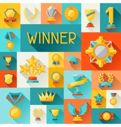Background with trophy and awards in flat design vector image