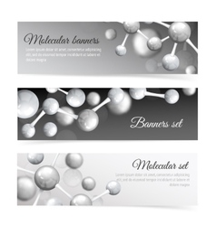 Black and white molecule banners set vector