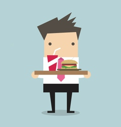 Businessman carrying a tray of food vector image