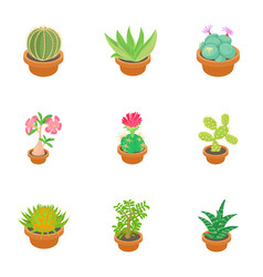 green cactus icons set cartoon style vector image vector image