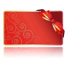greeting red card with bow vector image