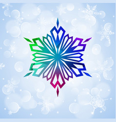 one big colorful snowflake on light blue vector image vector image