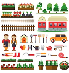 Set of elements for horticulture Farm building vector image vector image