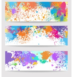 Set of three banners made of paint stains vector image vector image
