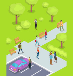 teenagers walking in park cartoon vector image vector image