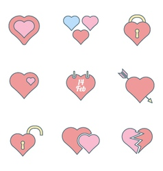 various color outline heart icons set vector image vector image