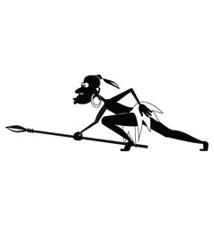 Aboriginal creeping BW vector image