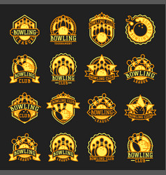 bowling emblem and yellow design element vector image vector image