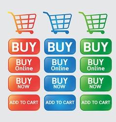 Button buy online shopping cart vector image vector image