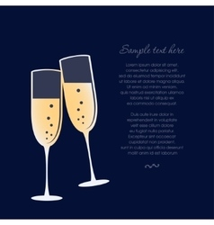 Glasses of champagne isolated on dark blue vector image vector image