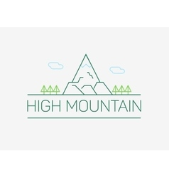 high mountain logo and emblem in outline vector image vector image