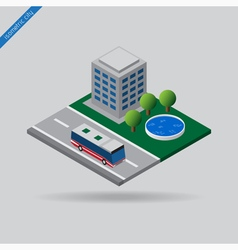 isometric city - bus on road house trees pool vector image