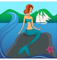 Mermaid on the stone vector
