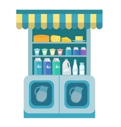 Milk products showcase dairy shelf in the store vector