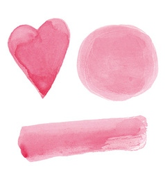 Pink watercolor paint design elements set vector