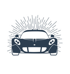 sports cars silhouette with rays vector image vector image