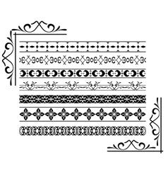 set - black decorative borders vector image