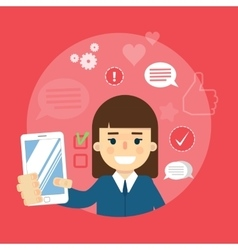 Social media banner Girl with smartphone vector image vector image