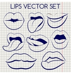 Lips silhouettes ball pen icons vector image