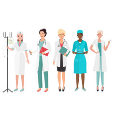 set of female doctors in different poses woman vector image vector image