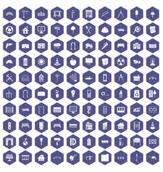100 architecture icons hexagon purple vector image